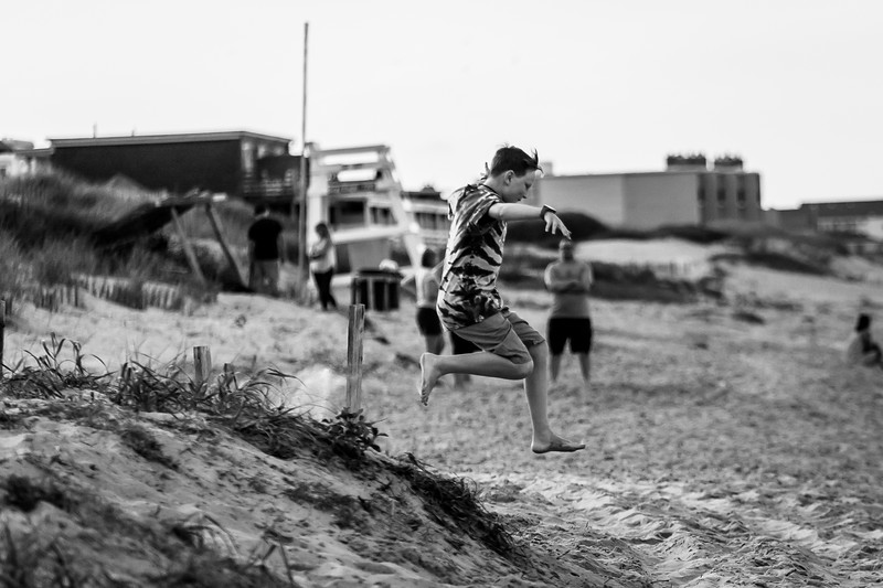 Summer beach trip to the Outer Banks. His first trip to the beach! June 2018. Digital.<br /> <br /> Displaying his athletic ability.
