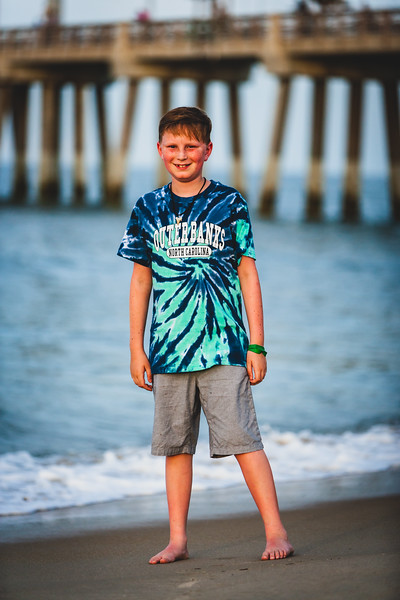 Summer beach trip to the Outer Banks. His first trip to the beach! June 2018. Digital.<br /> <br /> Jennettes Pier.