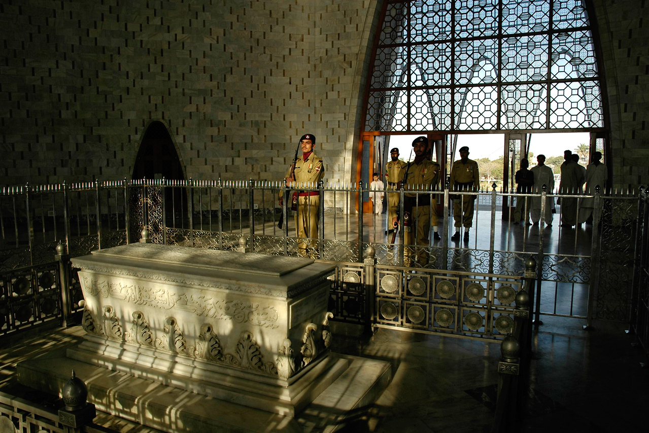 Inside view and change of gaurds at the tomb in Jinnah Mausoleum, Karachi, Pakistan (Mazar e Quaid also called Tomb of Quaid, Karachi, Pakistan).<br /> <br /> Mazar-e-Quaid (Urdu: مزار قائد) or the National Mausoleum refers to the tomb of the founder of Pakistan, Muhammad Ali Jinnah. It is an iconic symbol of Karachi and was built in 1960s. Quaid-e-Azam Muhammad Ali Jinnah is called the founder of Pakistan (1876-1948). He was born in Karachi on December 25th, 1876 and got his early education at Karachi before going to England.
