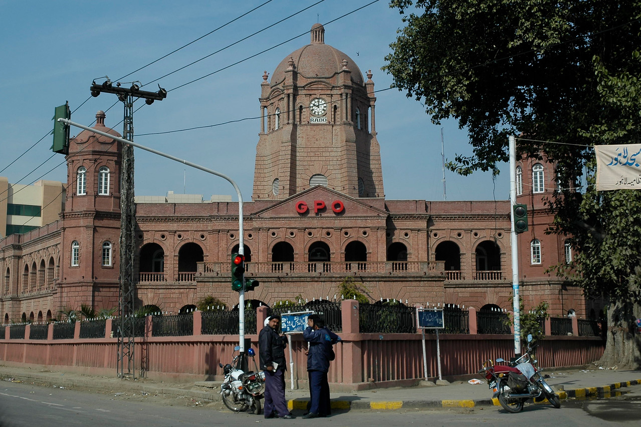 General Post Office (GPO), Lahore.<br /> <br /> Lahore (Punjabi: لہور, Urdu: لاہور pronounced [lahor]) is the capital of the Pakistani province of Punjab and the second largest city in Pakistan after Karachi. It is often called the Garden of Mughals because of its rich Mughal heritage. Lahore also is often called the cultural heart of Pakistan, as it is the center of Pakistani arts, films and intelligentsia. It is located near the Ravi River, close to the Pakistan-India border.