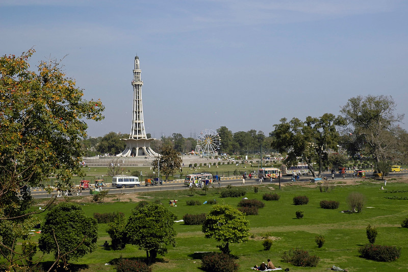 """Minar-e-Pakistan is a tall minaret in Iqbal Park Lahore, Pakistan. Built in commemoration of the Lahore Resolution. The minaret reflects a blend of Mughal and modern architecture, and is constructed on the site where on March 23, 1940, seven years before the formation of Pakistan, the Muslim League passed the Lahore Resolution (Qarardad-e-Lahore), demanding the creation of """"Pakistan"""". This was the first official declaration to establish a separate homeland for the Muslims living in the subcontinent. Pakistan now celebrates this day as a national holiday each year. The monument attracts visitors from all over Pakistan, as well as the inhabitants of the Walled City of Lahore. The large public space around the monument is commonly used for political and public meetings. The tower was designed by Naseer-ud-Deen Murat Khan a Pakistani architect of (Daghestan) Russian descent,and structural engineer was Abdur Rahman Khan Niazi. The base is about 8 meters above the ground. The tower rises about 60 meters on the base, thus the total height of minaret is about 702 meters above the ground."""