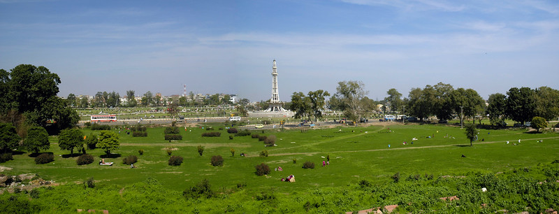 "Panoramic image of Minar-e-Pakistan.<br /> Minar-e-Pakistan is a tall minaret in Iqbal Park Lahore, Pakistan. Built in commemoration of the Lahore Resolution. The minaret reflects a blend of Mughal and modern architecture, and is constructed on the site where on March 23, 1940, seven years before the formation of Pakistan, the Muslim League passed the Lahore Resolution (Qarardad-e-Lahore), demanding the creation of ""Pakistan"". This was the first official declaration to establish a separate homeland for the Muslims living in the subcontinent. Pakistan now celebrates this day as a national holiday each year. The monument attracts visitors from all over Pakistan, as well as the inhabitants of the Walled City of Lahore. The large public space around the monument is commonly used for political and public meetings. The tower was designed by Naseer-ud-Deen Murat Khan a Pakistani architect of (Daghestan) Russian descent,and structural engineer was Abdur Rahman Khan Niazi. The base is about 8 meters above the ground. The tower rises about 60 meters on the base, thus the total height of minaret is about 702 meters above the ground."