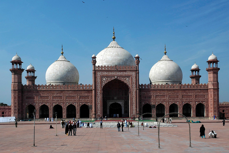 The Badshahi Mosque (Urdu: بادشاھی مسجد), or the 'Emperor's Mosque', in Lahore is the second largest mosque in Pakistan and South Asia and the fifth largest mosque in the world. It is one of Lahore's most famous landmarks and a major tourist attraction epitomising the beauty, passion and grandeur of the Mughal era. It is capable of accommodating 10,000 worshippers in its main prayer hall and 100,000 in its courtyard and porticoes The Badshahi Mosque also has the largest mosque courtyard in the world.
