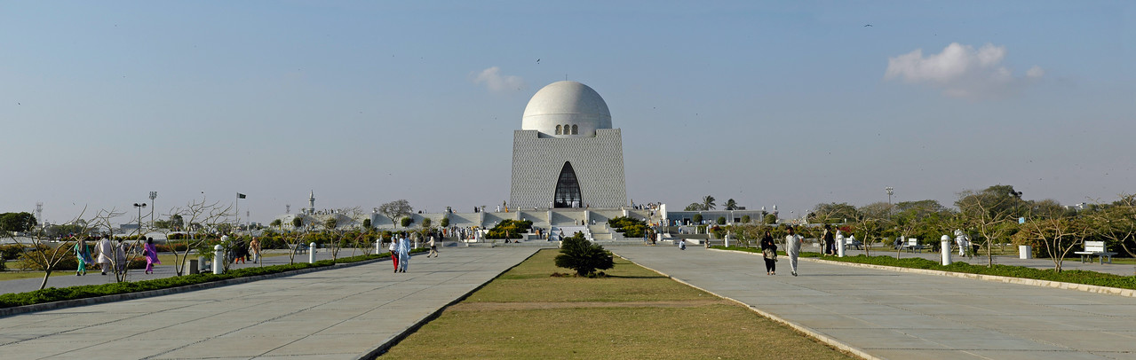 Panoramic image of Jinnah Mausoleum, Karachi, Pakistan. Mazar-e-Quaid, also called Tomb of Quaid, Karachi, Pakistan.<br /> <br /> Mazar-e-Quaid (Urdu: مزار قائد) or the National Mausoleum refers to the tomb of the founder of Pakistan, Muhammad Ali Jinnah. It is an iconic symbol of Karachi and was built in 1960s. Quaid-e-Azam Muhammad Ali Jinnah is called the founder of Pakistan (1876-1948). He was born in Karachi on December 25th, 1876 and got his early education at Karachi before going to England.