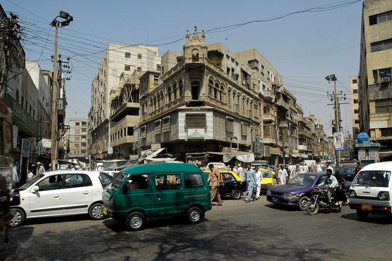 Street view and traffic on the business district streets of Karachi, Pakistan