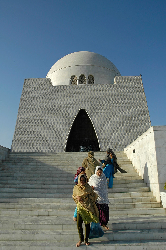 Jinnah Mausoleum, Karachi, Pakistan (Mazar e Quaid also called Tomb of Quaid, Karachi, Pakistan).<br /> <br /> Mazar-e-Quaid (Urdu: مزار قائد) or the National Mausoleum refers to the tomb of the founder of Pakistan, Muhammad Ali Jinnah. It is an iconic symbol of Karachi and was built in 1960s. Quaid-e-Azam Muhammad Ali Jinnah is called the founder of Pakistan (1876-1948). He was born in Karachi on December 25th, 1876 and got his early education at Karachi before going to England.