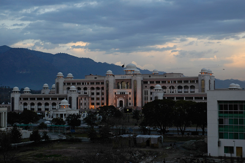 Evening view of Pakistani Prime Minister's (PM's) Secretariat in Islamabad, Pakistan seen from COMSAT's Office building
