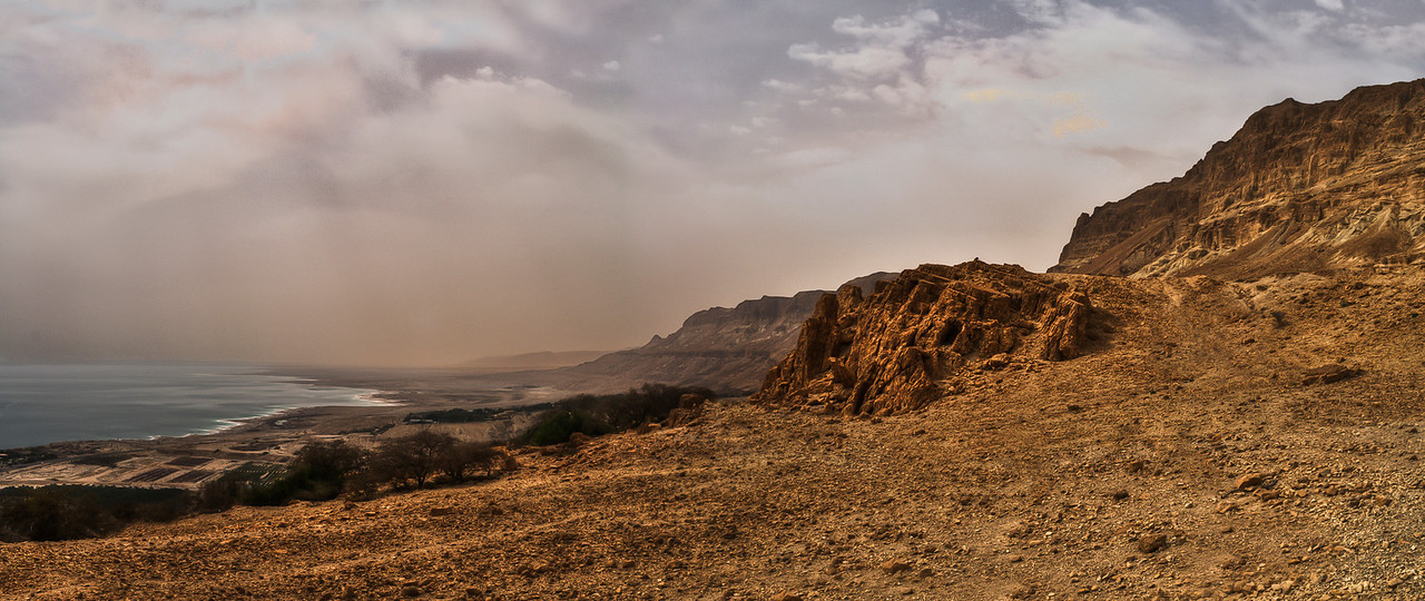 The Judean Desert is an array of hills and canyons, falling from the heights of around 1,000 meters in the Judean Mountains, to the Dead Sea which is, at 421 meters below sea level, the lowest place on earth.<br /> <br /> Dead Sea, Israel/palestine, 2012.