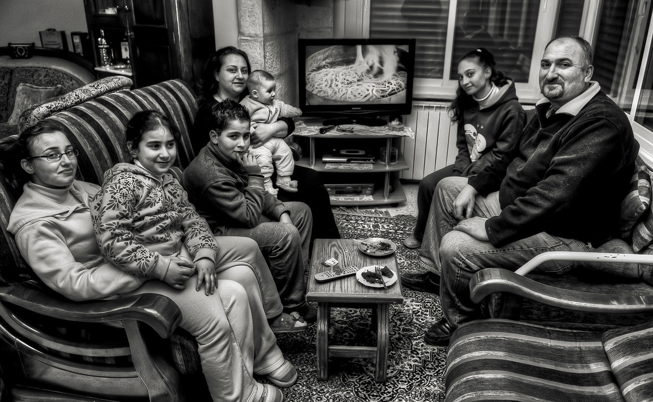 Christian Palestinian family in there home.<br /> <br /> Bethlehem, Palestine, 2012.