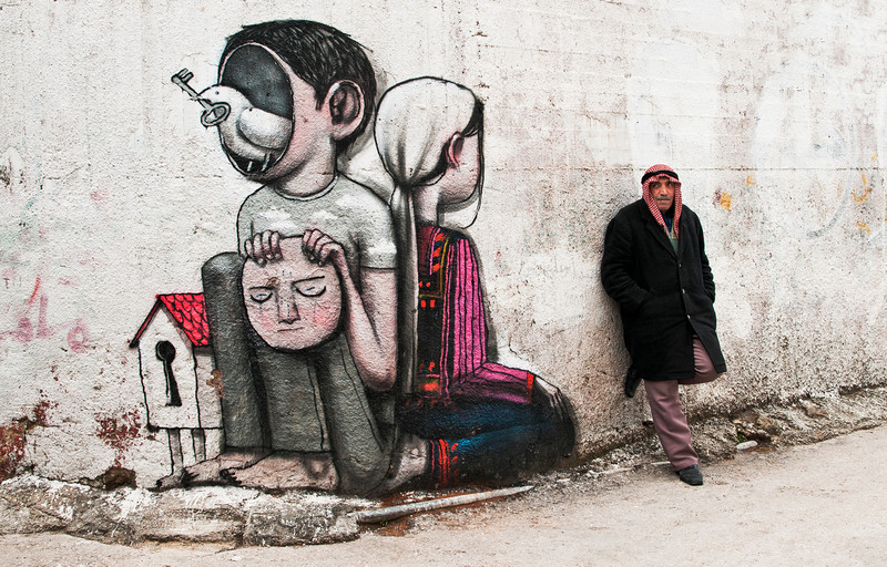 Mural for peace at the Aida refugee camp.<br /> <br /> Bethlehem, Palestine, 2012.