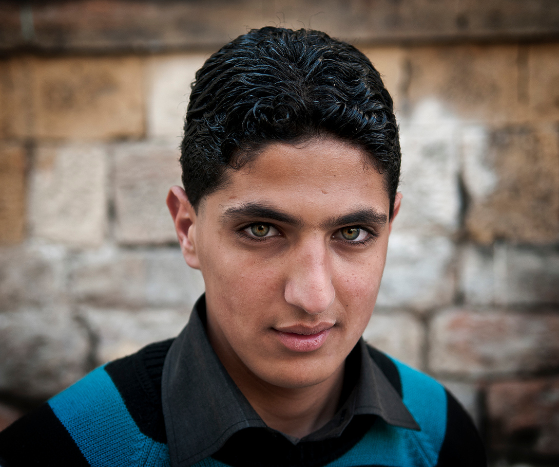 Portrait of a young Palestinian man.<br /> <br /> Hebron, Palestine, 2012.