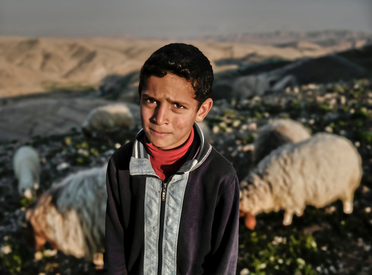 Palestinian Sheppard boy with the Judean desert mountains in the background.<br /> <br /> Palestine, 2012.