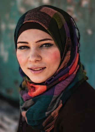 Fida 20 is a university student in Bethlehem.  Bethlehem, Palestine, 2012.