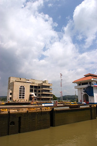 Passing through the Miraflores Locks of the Panama Canal in Panama City, Panama.