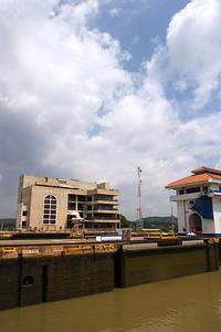 Passing through the Miraflores Locks of the Panama Canal in Panama City, Panama.