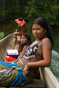 Embera woman in traditional dress, Chagres National Park, Panama.