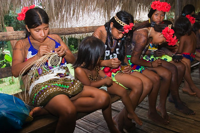 Embera women weaving basket out of dyed straw, Chagres National Park, Panama.