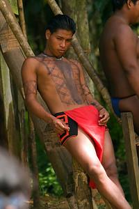 Embera man painted in dye, Chagres National Park, Panama.
