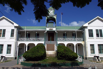 Colonial style architecture. The Court House in downtown Belize City, Belize.