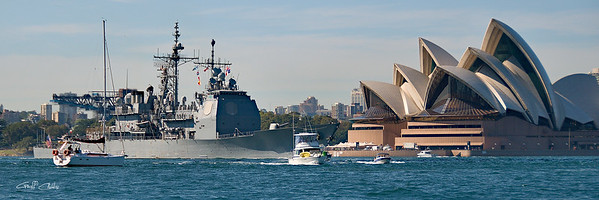 Sydney Opera House and USS Chosin.