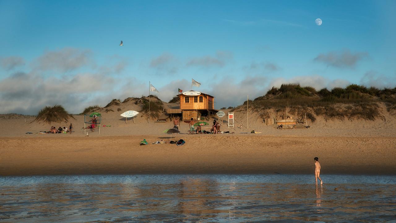Lifeguard post at Amoreira beach.<br /> <br /> Costa vicentina, Portugal, 2014.