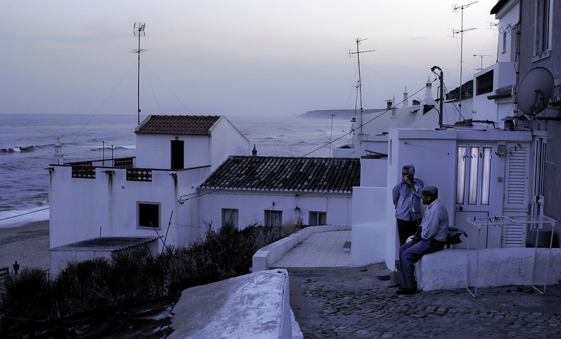 Sunset in the small fishing village of Salema, Algarve, Portugal.