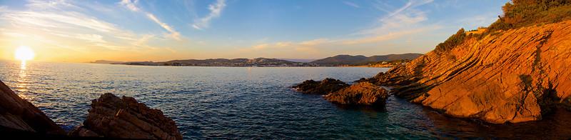 Panorama et coucher de soleil depuis la pointe de la Cride.