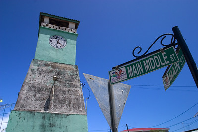 Town clock in downtown park in Punta Gorda, Toledo, Belize.