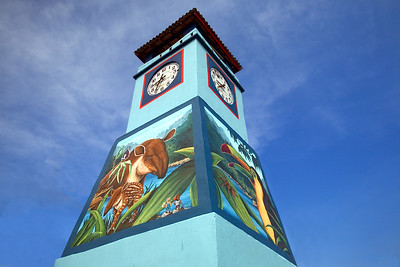 Punta Gorda Town clock with mural. Toledo, Belize.