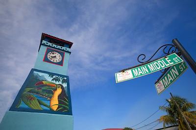 Punta Gorda Town clock with mural. Toledo, Belize.