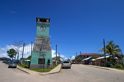 Town clock in downtown park in Punta Gorda, Toledo, Belize.