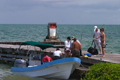 Tourists arriving in Punta Gorda Town, Toledo.