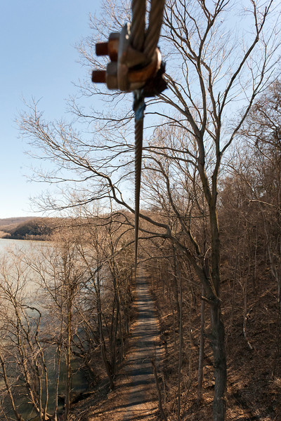The start point of a zip. You literally leap off the platform and your harness catches you as you zoom down the cable! River Riders, Harper's Ferry, West Virginia, digital, 17-40mm lens, Mar 2014.