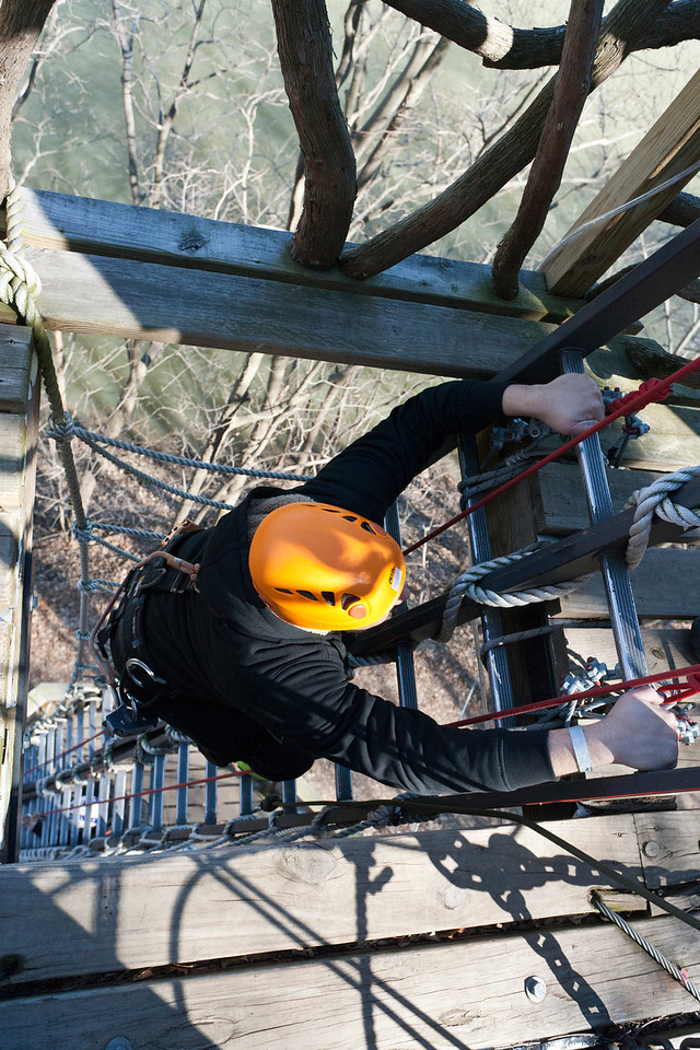 There were numerous ladders to climb to get back to an appropriate height to zip. River Riders, Harper's Ferry, West Virginia, digital, 17-40mm lens, Mar 2014.
