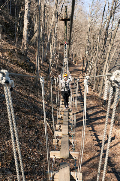 A plank bridge between zip platforms. River Riders, Harper's Ferry, West Virginia, digital, 17-40mm lens, Mar 2014.