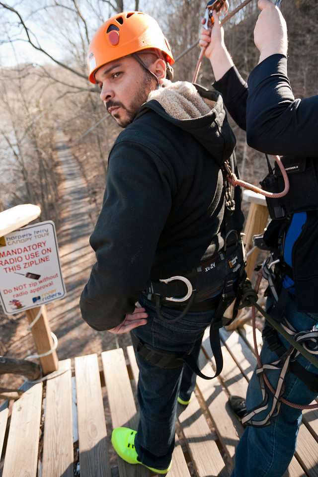 Jose getting mentally prepared while the guide clips him in. River Riders, Harper's Ferry, West Virginia, digital, 17-40mm lens, Mar 2014.