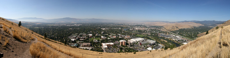 "Realllly wide angle panorama from the ""M"" over Missoula, Montana."