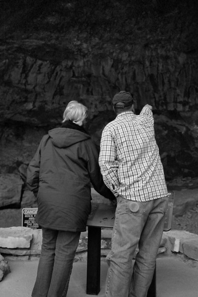 Tim pointing out a pictograph to Mom, Pictograph Caves State Park, Montana, April 2013, taken with Kodak TMax film.