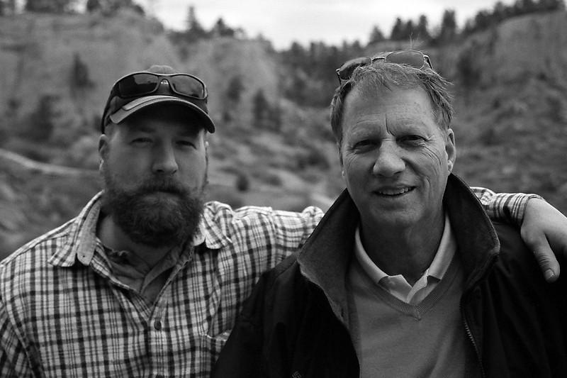 Dad and Tim, Pictograph Caves State Park, Montana, April 2013, taken with Kodak TMax film.