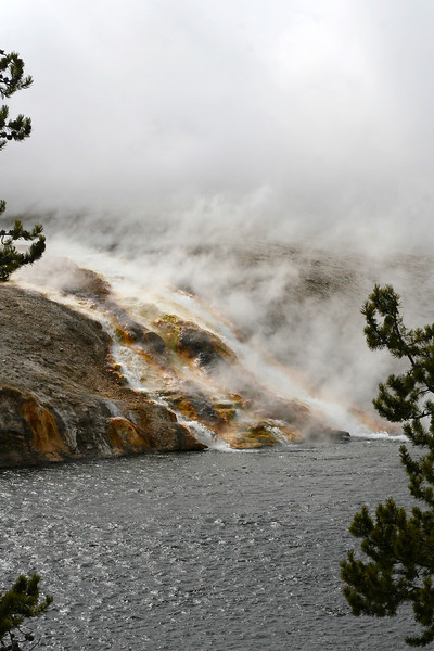 Spring water running into the Yellowstone River, Yellowstone National Park, April 2013.