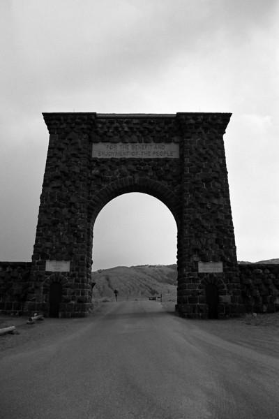 The entrance to Yellowstone, April 2013, taken with Kodak TMax film.
