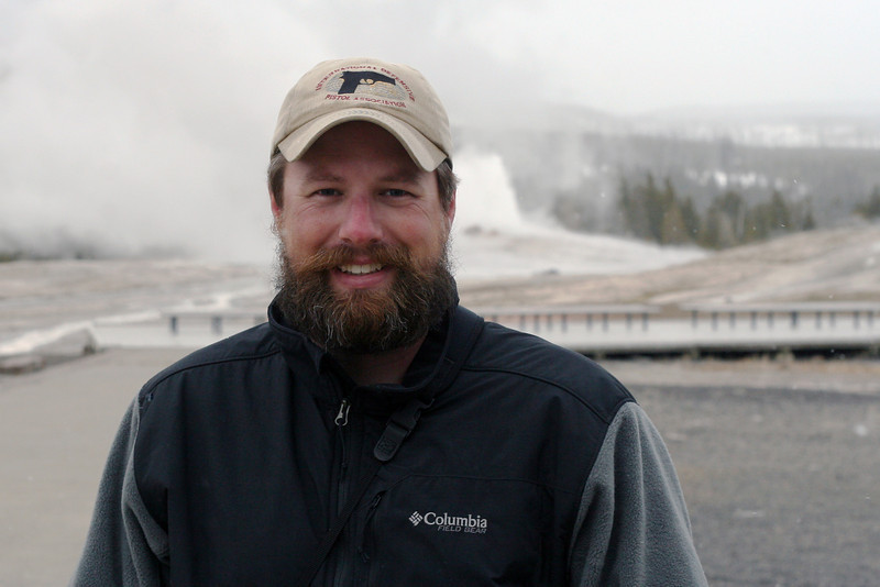 Me in front of Old Faithful at Yellowstone National Park, April 2013.