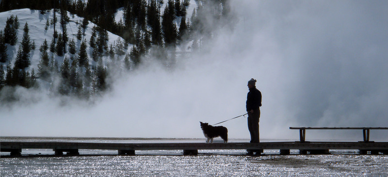 Dad walking Cassie at Yellowstone National Park, April 2013. Mom took this photo.