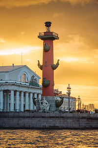 Neva river bank with Rostral Column