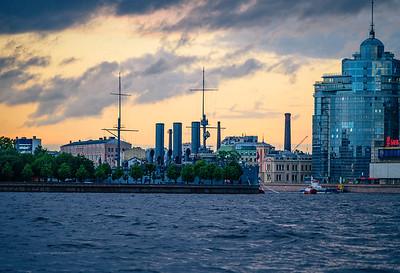Battleship Aurora on the Neva bank