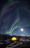 Person under Aurora, Greenland