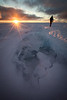 Sunset over Greenland ice cap
