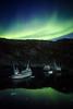 Aurora over shipwrecks, Greenland