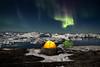 Camp aurora and icebergs