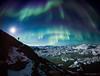 Icebergs and aurora, Greenland